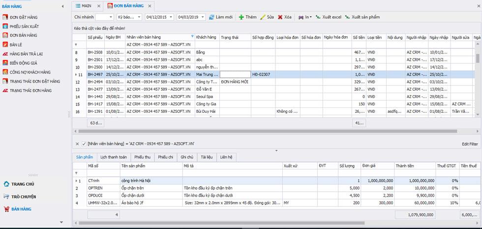 Phần mềm AZ CRM – bán hàng phân phối và bán lẻ