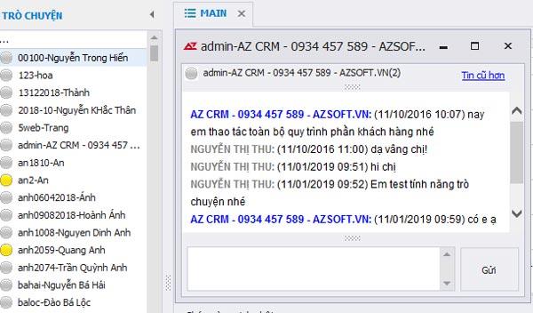 AZ CRM – chat nội bộ trên phần mềm CRM