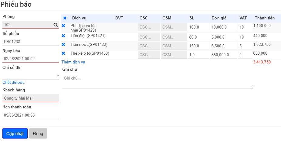 Quản lý phiếu báo tự động trên hệ thống quản lý tòa nhà AZ BMS