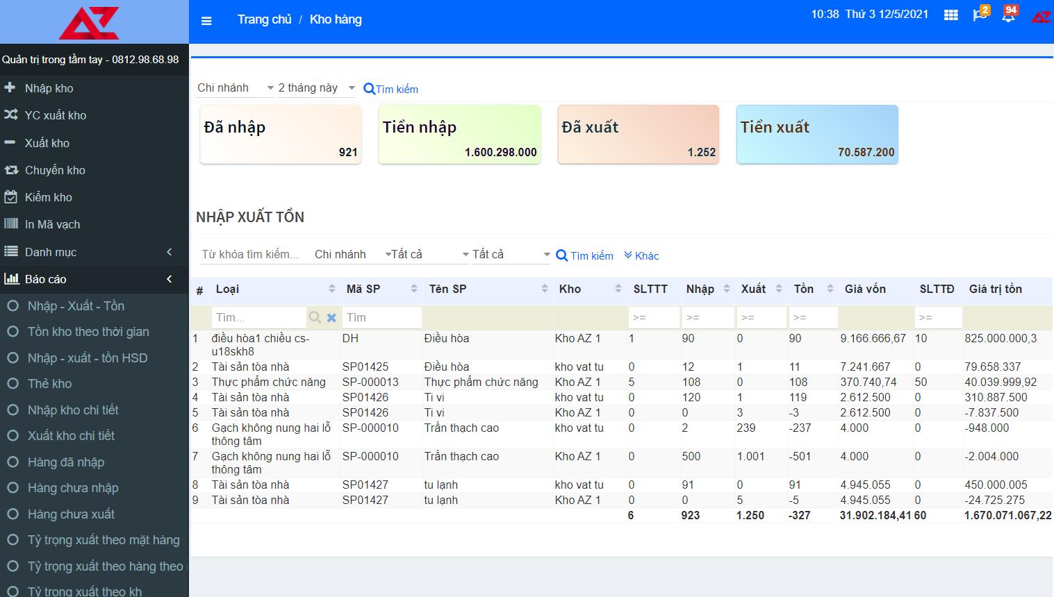 Quản lý chi tiết kho trên phần mềm quản lý bán hàng AZ POS tránh thất thoát hàng hóa