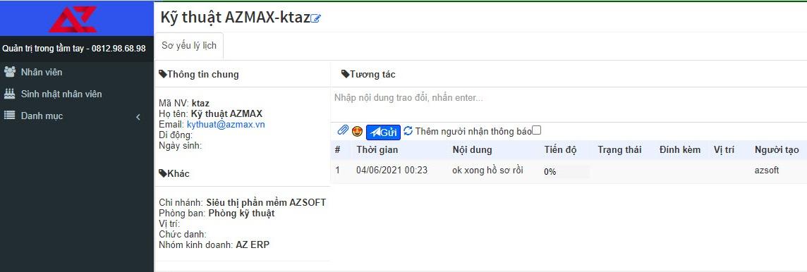 Quản lý người dùng phần mềm thẻ thành viên AZ MEMBER