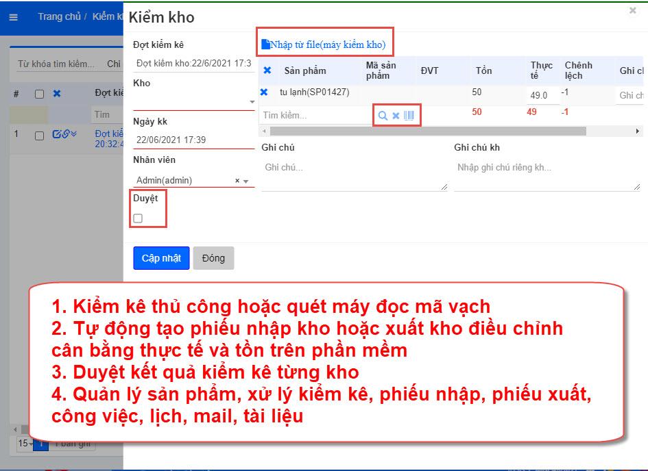 Quản lý kiểm kê kho hàng trên hệ thống phần mềm AZ Store