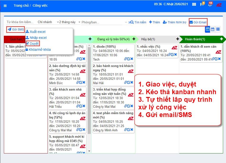 Quản lý công việc, nhắc việc tự động, tiện lợi trên hệ thống phần mềm AZ Store