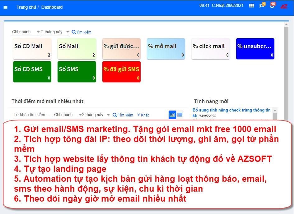Quản lý marketing, gửi email, sms trên hệ thống phần mềm AZ Store